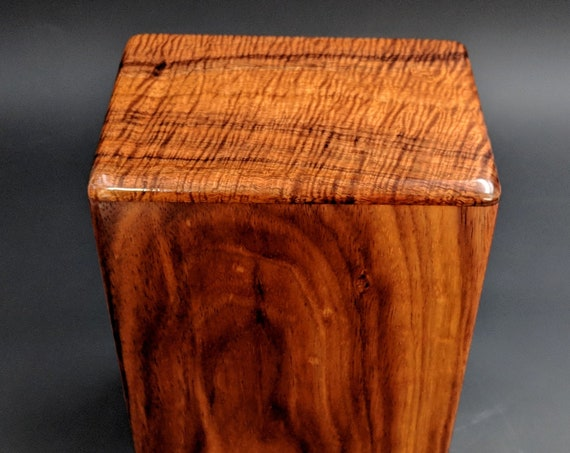 "Large Curly Hawaiian Koa Wooden Memorial Cremation Urn... 7""wide x 5""deep x 9""high Wood Adult Cremation Urn Handmade in Hawaii LK-112718-A"