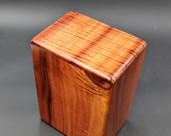 """Large Curly Hawaiian Koa Wooden Memorial Cremation Urn... 7""""wide x 5""""deep x 9""""high Wood Adult Cremation Urn Handmade in Hawaii LK-120219-B"""