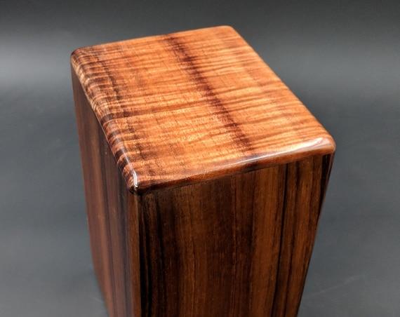 """Large Curly Hawaiian Koa Wooden Memorial Cremation Urn... 7""""wide x 5""""deep x 9""""high Wood Adult Cremation Urn Handmade in Hawaii LK-032019-A"""