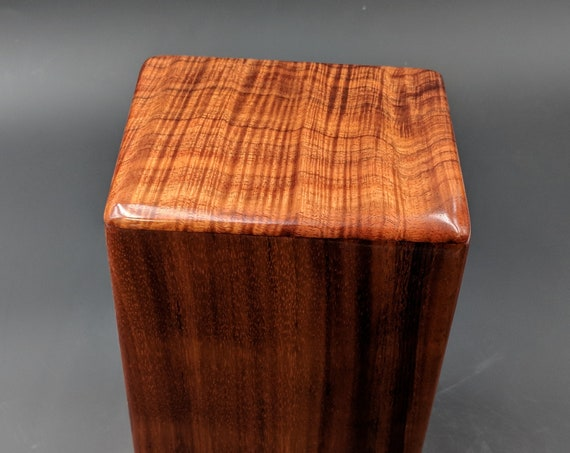 "Curly Hawaiian Koa Medium Size Memorial Cremation Urn...5 3/4"" x 5"" x 9"" ..Constant Supply On Hand Wooden Cremation Urn MK-070418-2"