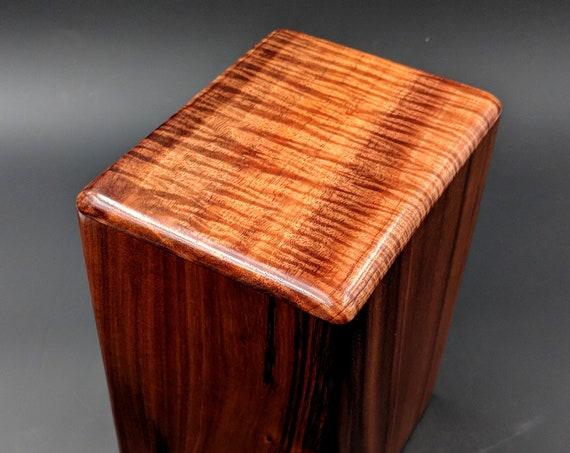 """Large Curly Hawaiian Koa Wooden Memorial Cremation Urn... 7""""wide x 5""""deep x 9""""high Wood Adult Cremation Urn Handmade in Hawaii LK-070418-1"""