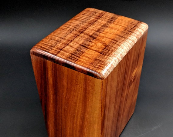 "Large Curly Hawaiian Koa Wooden Memorial Cremation Urn... 7""wide x 5""deep x 9""high Wood Adult Cremation Urn Handmade in Hawaii LK-112718-B"