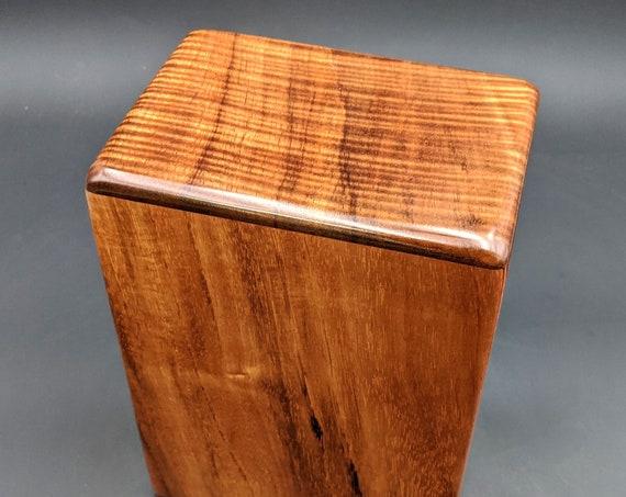 """Large Curly Hawaiian Koa Wooden Memorial Cremation Urn... 7""""wide x 5""""deep x 9""""high Wood Adult Cremation Urn Handmade in Hawaii LK-070220-A"""