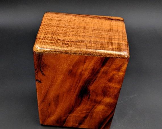 """Large Curly Hawaiian Koa Wooden Memorial Cremation Urn... 7""""wide x 5""""deep x 9""""high Wood Adult Cremation Urn Handmade in Hawaii LK-112718-D"""