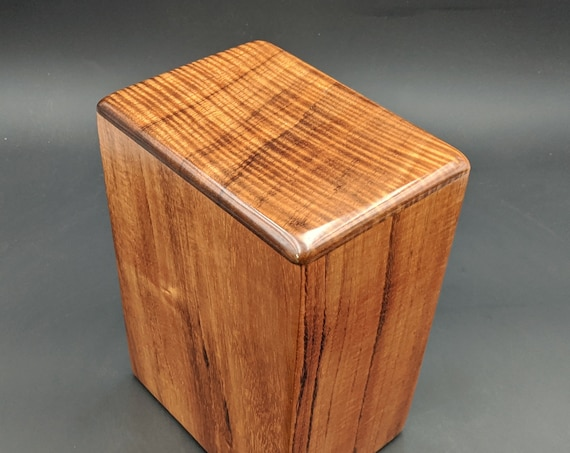"Large Curly Hawaiian Koa Wooden Memorial Cremation Urn... 7""wide x 5""deep x 9""high Wood Adult Cremation Urn Handmade in Hawaii LK-070220-A"