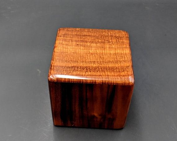 "Curly Hawaiian Koa  Pet or Infant Small Cremation Urn  4 3/4"" x 4 1/2"" x 4""  Custom Handmade Urns Ashes Memorial Keepsake Urn SK-092719-B"