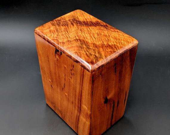 """Large Curly Hawaiian Koa Wooden Memorial Cremation Urn... 7""""wide x 5""""deep x 9""""high Wood Adult Cremation Urn Handmade in Hawaii LK-090919-A"""