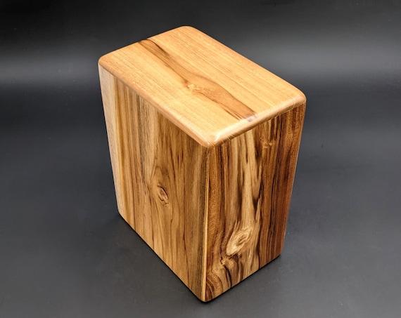 "Adult Large Teak Wood Memorial Cremation Urn... 7"" Wide x 4.5"" Deep x 8.5"" High  Solid Teak Wood LT-081021B Brownish Tan Black stripes"