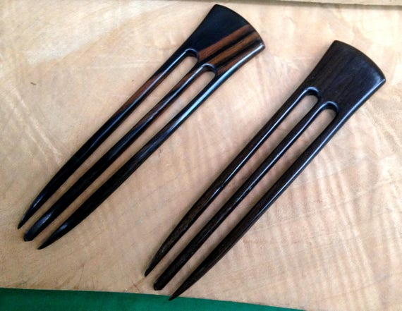 """2 Ebony 6 Inch Three Prong Wooden Straight Hair Forks Picks Pins Pics Combs Sticks FPL 4.5"""" Black with Dark Brown Grain 1 3/8 inch Wide"""
