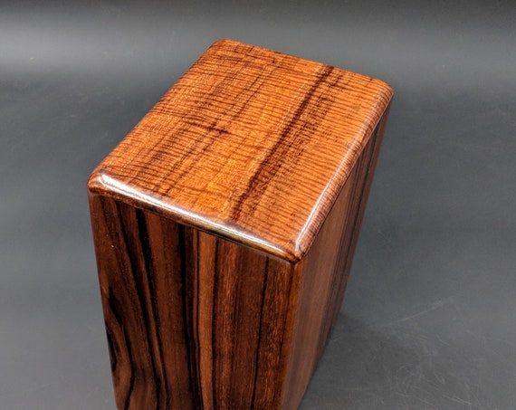 "Large Curly Hawaiian Koa Wooden Memorial Cremation Urn... 7""wide x 5""deep x 9""high Wood Adult Cremation Urn Handmade in Hawaii LK-032019-B"