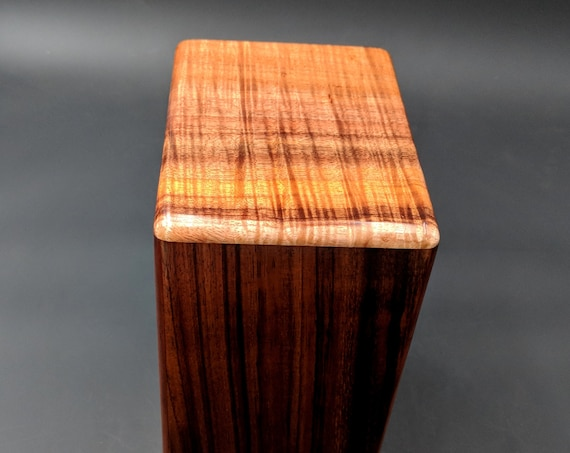 "Large Curly Hawaiian Koa Wooden Memorial Cremation Urn... 7""wide x 5""deep x 9""high Wood Adult Cremation Urn Handmade in Hawaii LK-013119-B"