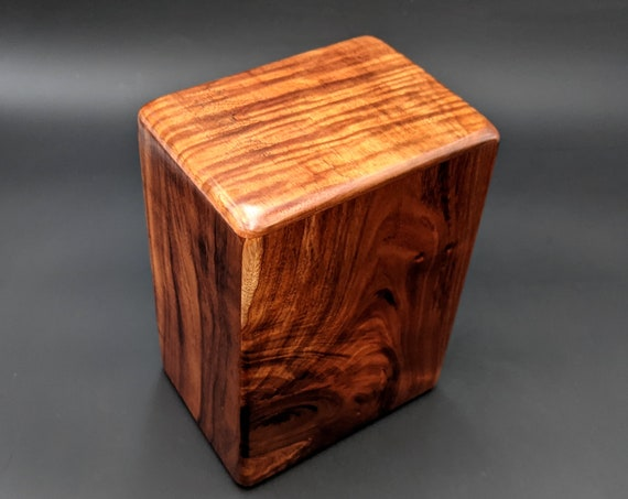"Large Curly Hawaiian Koa Wooden Memorial Cremation Urn... 7""wide x 5""deep x 9""high Wood Adult Cremation Urn Handmade in Hawaii LK-011921-B"