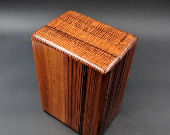"""Large Curly Hawaiian Koa Wooden Memorial Cremation Urn... 7""""wide x 5""""deep x 9""""high Wood Adult Cremation Urn Handmade in Hawaii LK-032019-B"""