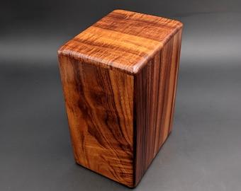 """Large Curly Hawaiian Koa Wooden Memorial Cremation Urn... 7""""wide x 5""""deep x 9""""high Wood Adult Cremation Urn Handmade in Hawaii LK-090821-A"""