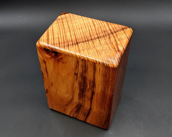 "Large Curly Hawaiian Koa Wooden Memorial Cremation Urn... 7""wide x 5""deep x 9""high Wood Adult Cremation Urn Handmade in Hawaii LK-030520-A"