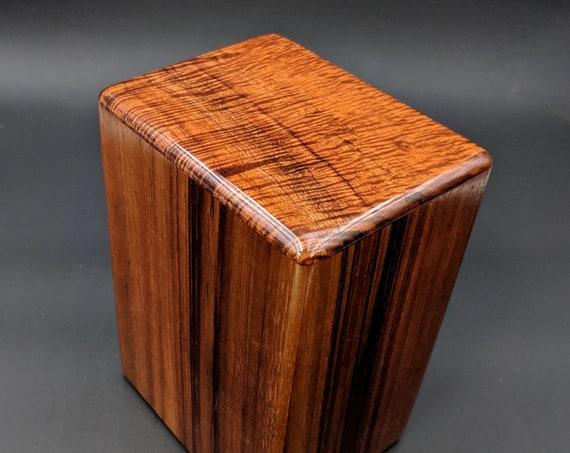 """Large Curly Hawaiian Koa Wooden Memorial Cremation Urn... 7""""wide x 5""""deep x 9""""high Wood Adult Cremation Urn Handmade in Hawaii LK-061919-A"""
