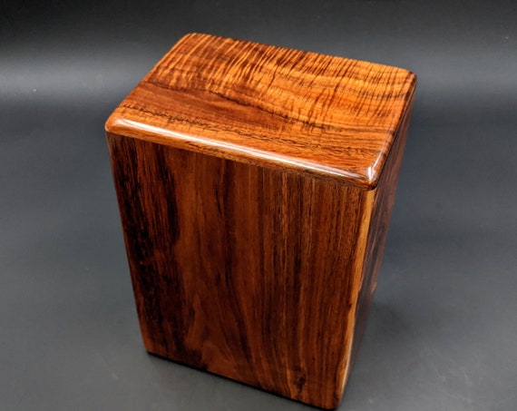 """Large Curly Hawaiian Koa Wooden Memorial Cremation Urn... 7""""wide x 5""""deep x 9""""high Wood Adult Cremation Urn Handmade in Hawaii LK-101520-A"""