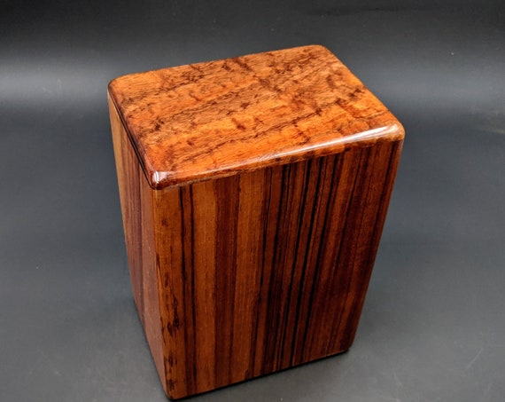 """Large Curly Hawaiian Koa Wooden Memorial Cremation Urn... 7""""wide x 5""""deep x 9""""high Wood Adult Cremation Urn Handmade in Hawaii LK-101520-B"""