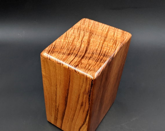 "Large Curly Hawaiian Koa Wooden Memorial Cremation Urn... 7""wide x 5""deep x 9""high Wood Adult Cremation Urn Handmade in Hawaii LK-020620-B"