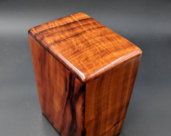 """Large Curly Hawaiian Koa Wooden Memorial Cremation Urn... 7""""wide x 5""""deep x 9""""high Wood Adult Cremation Urn Handmade in Hawaii LK-092719-A"""
