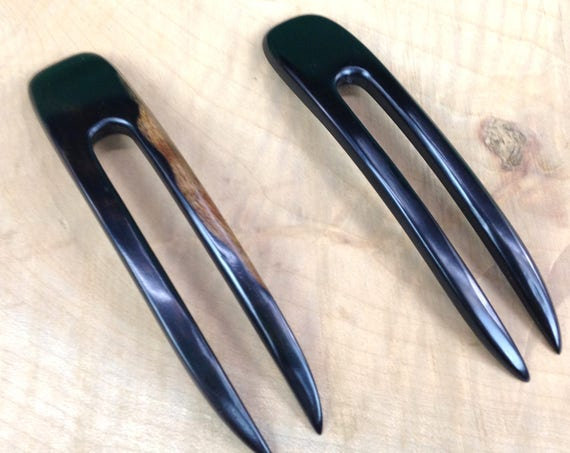 "Two Ebony 4.5 Inch Two Prong Wooden Curved Hair Forks Picks Pins Pics Combs Sticks FPL 3.5""  Black with Dark Brown Grain  1 inch Wide"