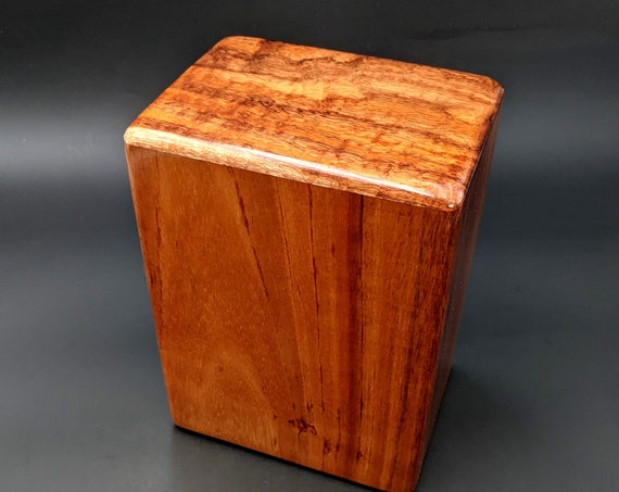 "Large Curly Hawaiian Koa Wooden Memorial Cremation Urn... 7""wide x 5""deep x 9""high Wood Adult Cremation Urn Handmade in Hawaii LK-011921-A"