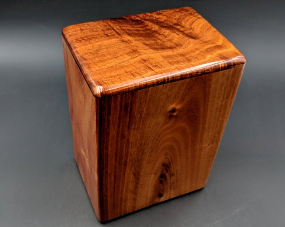 """Large Curly Hawaiian Koa Wooden Memorial Cremation Urn... 7""""wide x 5""""deep x 9""""high Wood Adult Cremation Urn Handmade in Hawaii LK-082219-A"""
