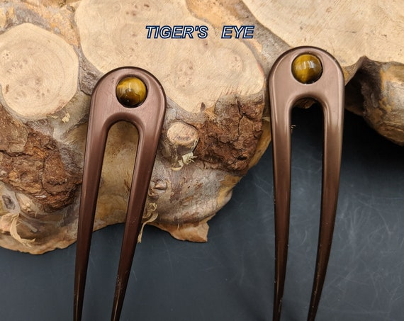 "Brown Anodized Aluminum Two Prong Hair Fork 4.5"" Curved  Unbreakable Waterproof FPL of 3.5""  Tiger's Eye Inset Stone Pin Pic Comb Bun Holder"