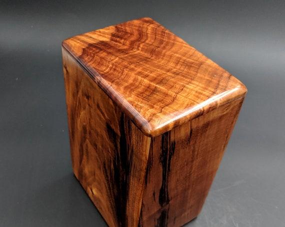 """Large Curly Hawaiian Koa Wooden Memorial Cremation Urn... 7""""wide x 5""""deep x 9""""high Wood Adult Cremation Urn Handmade in Hawaii LK-081319-A"""