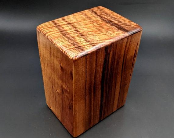 """Large Curly Hawaiian Koa Wooden Memorial Cremation Urn... 7""""wide x 5""""deep x 9""""high Wood Adult Cremation Urn Handmade in Hawaii LK-060421-B"""