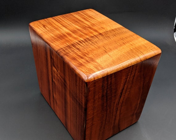 "Curly Hawaiian Koa Companion Cremation Urn... 10"" x 7"" x 9"" Keep Grandma and Grandpa Together Forever Handmade in Hawaii  CompK-061920-A"