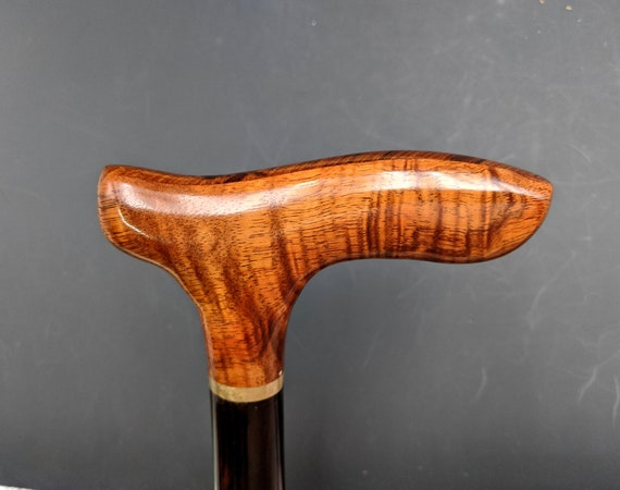 "Curly Hawaiian Koa Cane Handle with a Turned Ebony Straight Shaft  36 1/2 "" Cane Walking Stick Semi-Gloss Lacquer Finish  KE-121119-A"