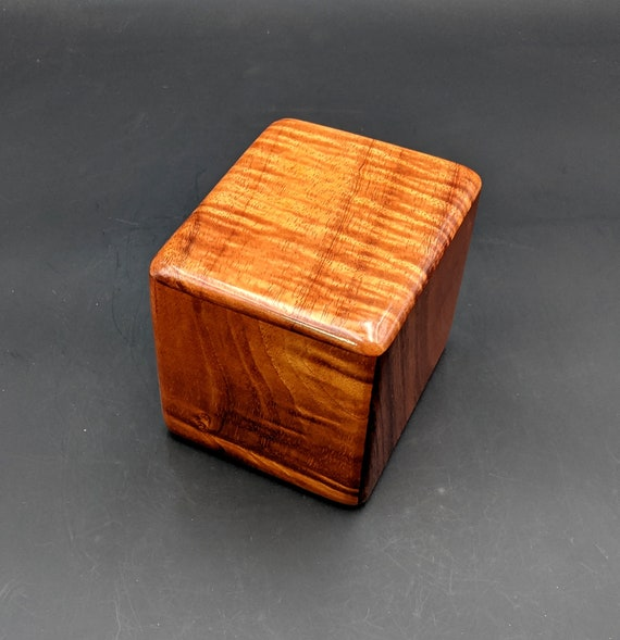 "Curly Hawaiian Koa  Pet or Infant Small Cremation Urn  4 3/4"" x 4 1/4"" x 4""  Custom Handmade Urns Ashes Memorial Keepsake Urn SK-072120-B"