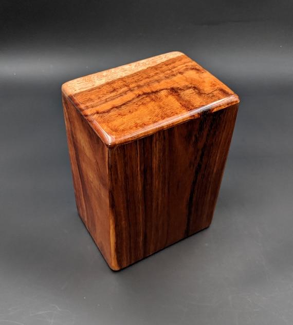 """Large Curly Hawaiian Koa Wooden Memorial Cremation Urn... 7""""wide x 5""""deep x 9""""high Wood Adult Cremation Urn Handmade in Hawaii LK-101920-A"""