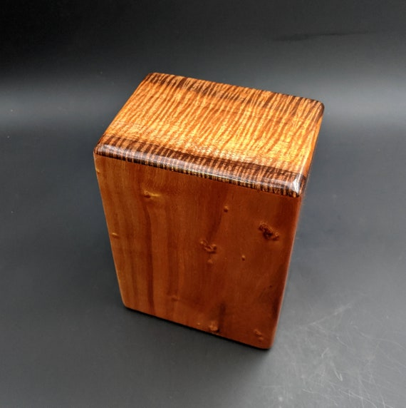 "Large Curly Hawaiian Koa Wooden Memorial Cremation Urn... 7""wide x 5""deep x 9""high Wood Adult Cremation Urn Handmade in Hawaii LK-020620-A"