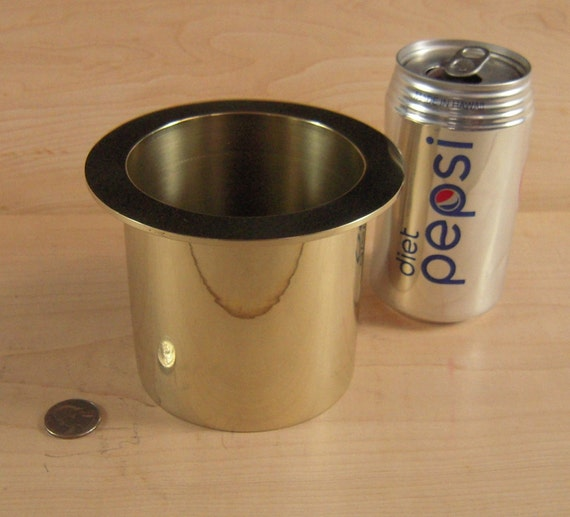 "1 Solid Polished Brass Water Holding Floral Pin Frog Kenzan 5"" Lip Fits a 4"" Hole for Japanese Ikebana Vases 4"" High Flower Holder"