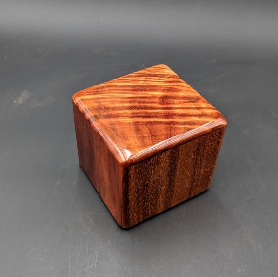 "Curly Hawaiian Koa  Pet or Infant Small Cremation Urn  4 3/4"" x 4 1/2"" x 4""  Custom Handmade Urns Ashes Memorial Keepsake Urn SK-101119-A"
