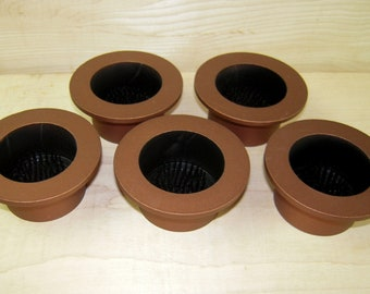 """Antique Copper Aluminum Water Holding Floral Arranging 3"""" Lip Cups Fits 2"""" Hole Black Inside Pin Frogs Kenzan Japanese Ikebana Vases"""