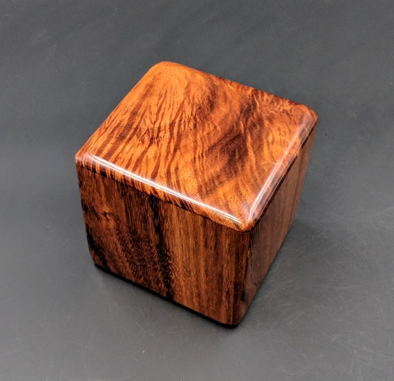 "Curly Hawaiian Koa  Pet or Infant Small Cremation Urn  4 3/4"" x 4 1/4"" x 4""  Custom Handmade Urns Ashes Memorial Keepsake Urn SK-032019-A"