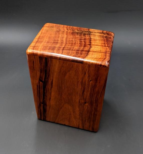 """Large Curly Hawaiian Koa Wooden Memorial Cremation Urn... 7""""wide x 5""""deep x 9""""high Wood Adult Cremation Urn Handmade in Hawaii LK-101819-A"""