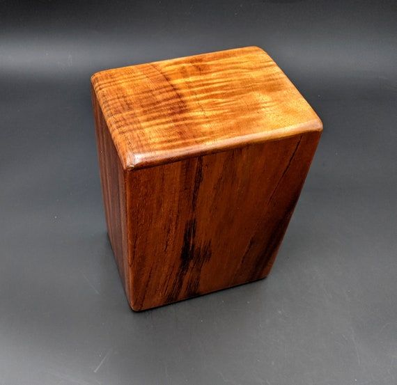 "Large Curly Hawaiian Koa Wooden Memorial Cremation Urn... 7""wide x 5""deep x 9""high Wood Adult Cremation Urn Handmade in Hawaii LK-090820-B"