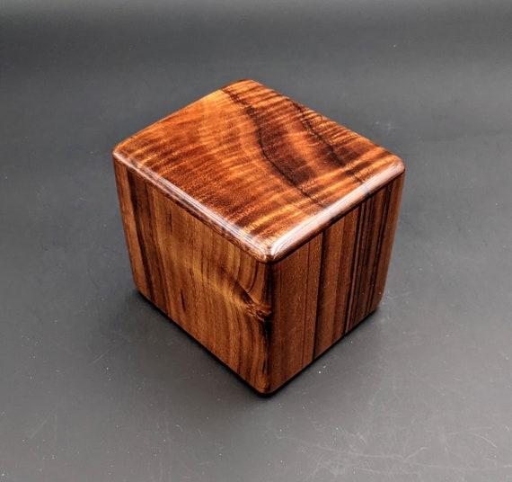 "Curly Hawaiian Koa  Pet or Infant Small Cremation Urn  4 3/4"" x 4 1/4"" x 4""  Custom Handmade Urns Ashes Memorial Keepsake Urn SK-072821-B"
