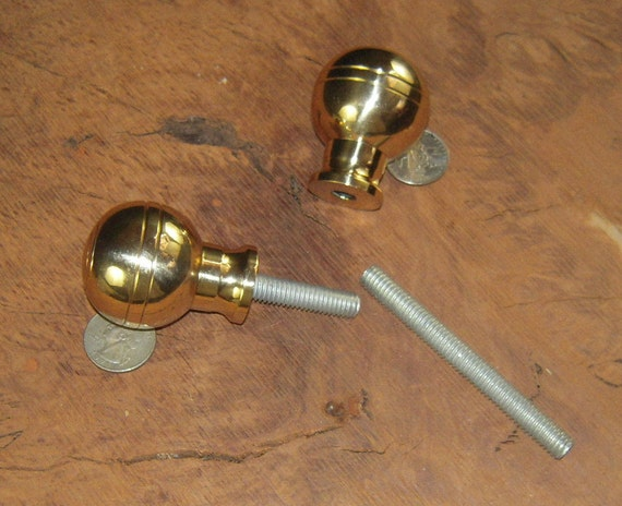 "TWO (2) Cast Brass Shift  Knob Ball Cane Walking Stick Handle 1 1/2"" Diameter 2""H  3 1/2""  3/8"" x 16 Threaded Rod Your Shaft Gear Shift Knob"