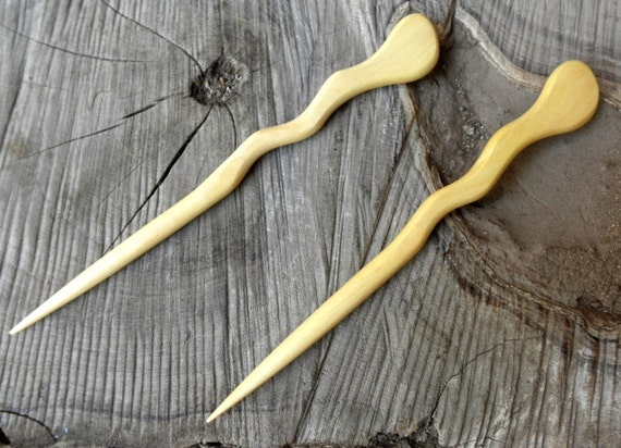 2 Yellow Teak 6 Inch Handmade Spiral Hair Stick Pin Pic Fork Serpent Style
