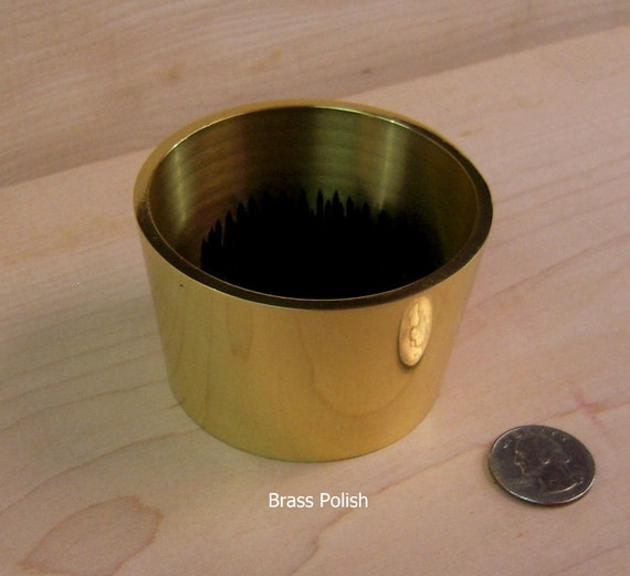 "1 Solid Polished  Brass Water Holding  Tapered Floral Pin Frog Kenzan Fits in 3"" Hole for Japanese Ikebana Vases  2"" High"