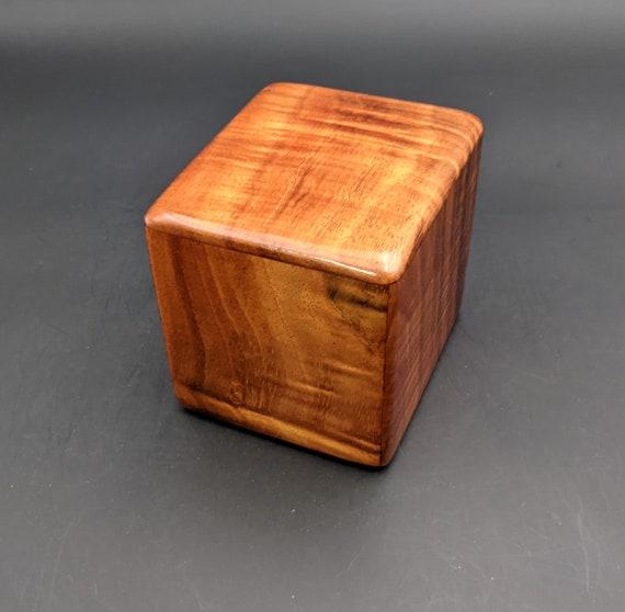 "Curly Hawaiian Koa  Pet or Infant Small Cremation Urn  4 3/4"" x 4 1/4"" x 4""  Custom Handmade Urns Ashes Memorial Keepsake Urn SK-072021-F"