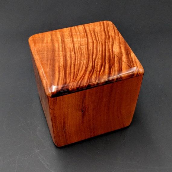 "Curly Hawaiian Koa  Pet or Infant Small Cremation Urn  4 3/4"" x 4 1/4"" x 4""  Custom Handmade Urns Ashes Memorial Keepsake Urn SK-090518-B"