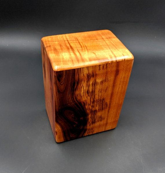 """Large Curly Hawaiian Koa Wooden Memorial Cremation Urn... 7""""wide x 5""""deep x 9""""high Wood Adult Cremation Urn Handmade in Hawaii LK-101920-B"""