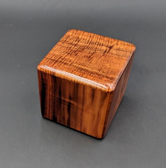 "Curly Hawaiian Koa  Pet or Infant Small Cremation Urn  4 3/4"" x 4 1/2"" x 4""  Custom Handmade Urns Ashes Memorial Keepsake Urn SK-072619-A"