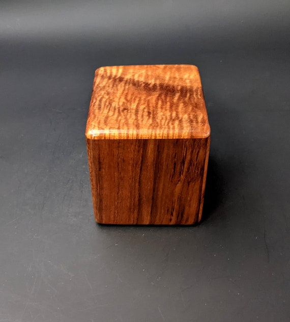 "Curly Hawaiian Koa  Pet or Infant Small Cremation Urn  4 3/4"" x 4 1/4"" x 4""  Custom Handmade Urns Ashes Memorial Keepsake Urn SK-072021-G"